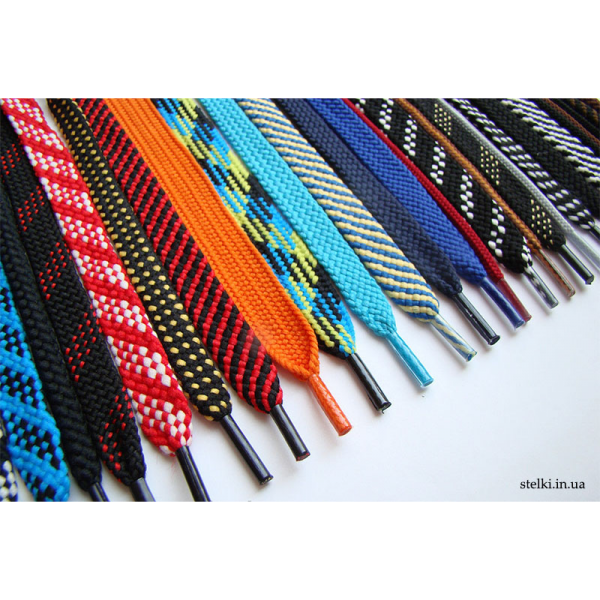 Плоские цветные шнурки