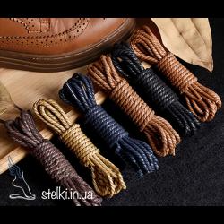 Крупные круглые шнурки с пропиткой для обуви плетенные цветные, 120 см