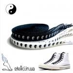 Шнурки для обуви с древнекитайской символикой Инь-Ян, 120 см